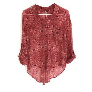 Free People Easy Rider Geometric Button Down Shirt